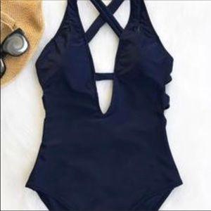 NWT Cupshe My Destiny Navy One piece Swim Suit L